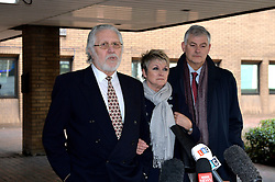 Dave Lee Travis speaks to press outside of Southwark Crown Court after being found not guilty of all but two charges. Pictured centre is Marianne Griffin (wife).<br />  Thursday, 13th February 2014. Picture by Ben Stevens / i-Images