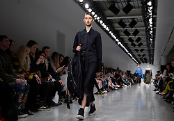Models on the catwalk during the Eudon Choi Autumn/Winter 2017 London Fashion Week show at BFC Show Space, London. PRESS ASSOCIATION. Picture date: Friday February 17, 2017. Photo credit should read: Isabel Infantes/PA Wire