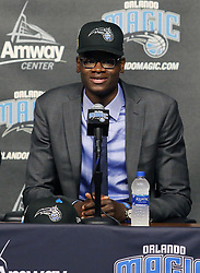 June 22, 2018 - Orlando, FL, USA - Orlando Magic draft pick Mo Bamba speaks during a news conference at the Amway Center in Orlando, Fla., on Friday, June 22, 2018. (Credit Image: © Stephen M. Dowell/TNS via ZUMA Wire)