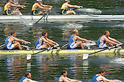 2004 FISA World Cup Regatta Lucerne Switzerland. 18.06.04..Photo Peter Spurrier.Britain's men's four [middle] move away from the start pontoon and racing through to gain a place in Sat's semi-final.left to right James Cracknell, Steve Williams, Alex Partridge and Matt Pinsent. Rowing Course, Lake Rottsee, Lucerne, SWITZERLAND. [Mandatory Credit: Peter Spurrier: Intersport Images]