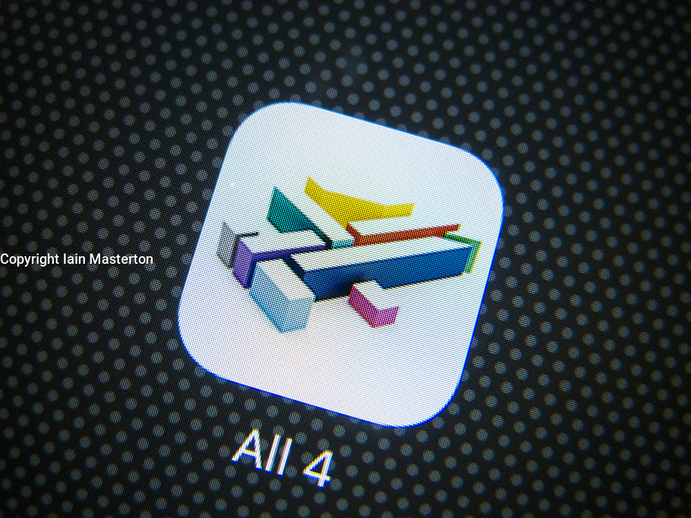 Homepage of Channel 4's All 4 on demand TV catchup streaming app on iPhone 6 plus smart phone