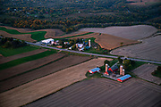 Sunrise aerial image over Mt. Horeb, Dane County, Wisconsin on a beautiful morning.