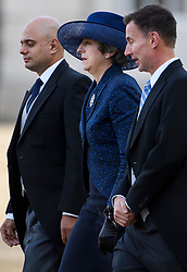 © Licensed to London News Pictures. 23/10/2018. London, UK. Home Secretary SAJID JAVID, Prime Minister THERESA MAY and Foreign Secretary JEREMY HUNT attend a ceremony on Horse Guards Parade in London for the arrival of King Willem-Alexander and Queen Maxima of the Netherlands as part of a state visit to the UK. Photo credit: Ben Cawthra/LNP
