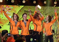 22-02-2014 ALGEMEEN: OLYMPIC GAMES HULDIGING HHH: SOTSJI<br /> In het HHH werden de coaches en de gouden medailles winnaars gehuldigd / Ireen Wust, Jorien ter Mors, Lotte van Beek en Marrit Leenstra tijdens de huldiging in het Holland Heineken House<br /> ©2014-FotoHoogendoorn.nl