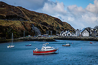 LEWIS AND HARRIS, SCOTLAND - CIRCA APRIL 2016: Port of Tarbert in the outer islands of Lewis and Harris in Scotland.