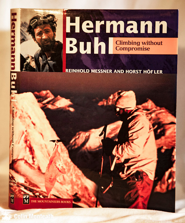 HERMANN BUHL - CLIMBING WITHOUT COMPROMISE - Reinhold Messner & Horst Hofler, The Mountaineers Seattle, 1st USA edn., 2000, 200 page VG+ hardback with VG+ jacket - at last...a biography of this famous climber who solo'd the first ascent of Nanga Parbat - extensive use of Buhl's own diaries - $NZ55.