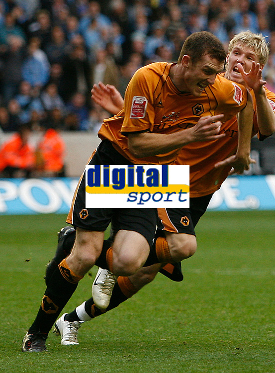 Photo: Steve Bond.<br />Wolverhampton Wanderers v Coventry City. Coca Cola Championship. 06/10/2007. Neill Collins (L) celebrates, Andy keogh (R) joins him