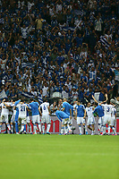 Football - European Championships 2012 - Greece v Russia<br /> <br /> Greece players celebrate reaching the quarter finals at the National Stadium, Warsaw