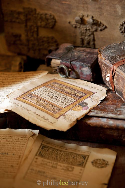 Ancient manuscripts in the Djenné Library, Djenné, Mali. The ancient city of Djenné was a centre of Islamic learning