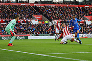 Kevin Wimmer of Stoke City (c)  just does enough to stop Jamie Vardy of Leicester City getting a shot at goal. Premier league match, Stoke City v Leicester City at the Bet365 Stadium in Stoke on Trent, Staffs on Saturday 4th November 2017.<br /> pic by Chris Stading, Andrew Orchard sports photography.