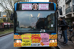 London, UK. 5th May, 2021. Val's Love Bus, used by political party Burning Pink during campaigning for its candidate Valerie Brown to be elected as London Mayor, is pictured during a March On The Motorway event on the eve of the London Mayoral election. Burning Pink is a radical political party seeking rapid action to combat the climate emergency through the setting up of citizens assemblies. Activists accompanying the campaign bus marched from St Pancras Church to the Westway, where they were intercepted by the police.