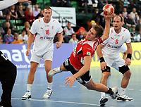 Håndball<br /> Supercup <br /> 31.10.2009<br /> Danmark v Norge<br /> Foto: Witters/Digitalsport<br /> NORWAY ONLY<br /> <br /> v.l. Mikkel Hansen, Einar Sand Koren, Lars Jørgensen