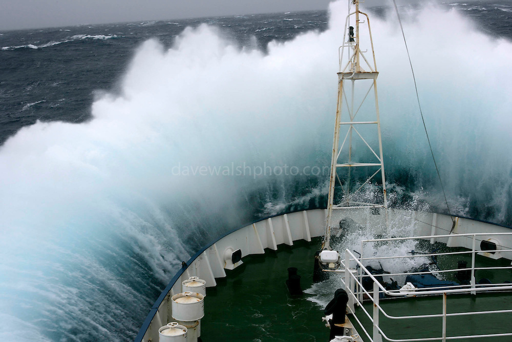 February 4th 2007. Southern Ocean.<br /> Greenpeace ship Esperanza on her route towards Antarctica in a Force 10 storm.