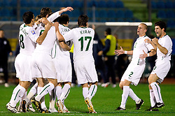 Slovenia players celebrate after first goal at the last 2010 FIFA World Cup South Africa Qualifying match in Group 3 between San Marino and Slovenia, on October 14, 2009, in Olimpico Stadium, Serravalle, San Marino. Slovenia won 3:0. (Photo by Vid Ponikvar / Sportida)