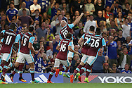 James Collins of West Ham United © celebrates after scoring his sides 1st goal to make it 1-1 . Premier league match, Chelsea v West Ham United at Stamford Bridge in London on Monday 15th August 2016.<br /> pic by John Patrick Fletcher, Andrew Orchard sports photography.