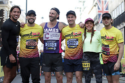 James Reach, James Ingh Eyal Booker, Jake Quickenden, Michelle Heaton and Frankie Foster during the 2019 London Landmarks Half Marathon.