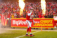 Kansas City Chiefs quarterback Patrick Mahomes (15) as he enters the field during an NFL divisional football playoff game in Kansas City, Mo., Saturday, Jan. 12, 2019. <br /> ( Tom DiPace)