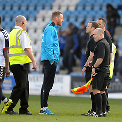TELFORD COPYRIGHT MIKE SHERIDAN 30/3/2019 - Gavin Cowan makes his point to the officials at full time during the Vanarama National League North fixture between AFC Telford United and Blyth Spartans at the New Bucks Head.