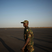 January 17, 2013 - Bamako, Mali: First group of forty five Togolese army men arrive at Bamako International Airport to take part in the international force deployed to Mali to defend the country against the islamists rebel groups advancing from the northern areas of the country.<br /> <br /> Several insurgent groups have been fighting a campaign against the Malian government for independence or greater autonomy for northern Mali, an area known as Azawad. The National Movement for the Liberation of Azawad (MNLA), an organisation fighting to make Azawad an independent homeland for the Tuareg people, had taken control of the region by April 2012.<br /> <br /> Last week the Malian government pledge to the French army to help the national troops to stop the rebellion advance towards the capital Bamako. The french troops started aerial attacks on rebel positions in the centre of the country and deployed several hundred special forces men to counter attack the advance on the ground. (Paulo Nunes dos Santos/Polaris)