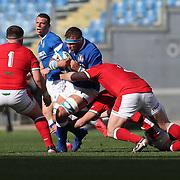 Roma 13/03/2021, Stadio Olimpico<br /> Guinness Six Nations 2021<br /> Italia vs Galles<br /> <br /> Niccolo Cannone placcato da Ken Owens