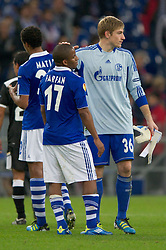 03.11.2011, Veltins Arena, Gelsenkirchen, GER, UEFA Europa League, FC Schalke 04 (GER) vs AEK Larnaca FC (CYP), im Bild Jefferson Farfan (#17 Schalke) und Lars Unnerstall (#36 Schalke) nach dem Spiel // during FC Schalke 04 (GER) vs AEK Larnaca FC (CYP) at Veltins Arena, Gelsenkirchen, GER, 2011-11-03. EXPA Pictures © 2011, PhotoCredit: EXPA/ nph/  Kurth       ****** out of GER / CRO  / BEL ******