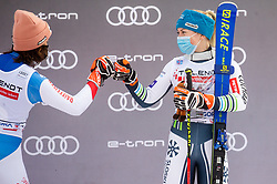 Second placed Michelle Gisin (SUI) and Third placed Meta Hrovat (SLO) celebrate during trophy ceremony after 2nd Run of Ladies' Giant Slalom at 57th Golden Fox event at Audi FIS Ski World Cup 2020/21, on January 17, 2021 in Podkoren, Kranjska Gora, Slovenia. Photo by Vid Ponikvar / Sportida