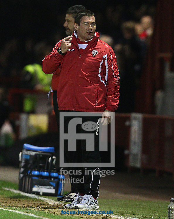 Nigel Clough, Manager of Sheffield United during the Sky Bet League 1 match at Broadfield Stadium, Crawley<br /> Picture by Paul Terry/Focus Images Ltd +44 7545 642257<br /> 25/03/2014
