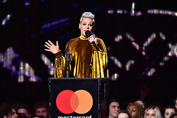 Pink with the award for Lifetime Achievement on stage at the Brit Awards 2019 at the O2 Arena, London. Photo credit should read: Matt Crossick/EMPICS Entertainment. EDITORIAL USE ONLY
