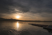 Varese. Lombardia. ITALY. General View. Varese Rowing Club. [Canottieri Varese] Province of Varese.  Sunset <br /> <br /> Monday  02/01/2017<br /> <br /> [Mandatory Credit; Peter Spurrier/Intersport-images]<br /> <br /> <br /> LEICA CAMERA AG - LEICA Q (Typ 116) - 1/5000 - f4 , Atmospheric, mist, fog, Sunrise, Sunset, Blue Hour,