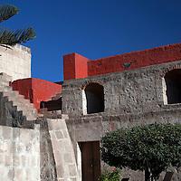 South America, Peru, Arequipa. Monasterio de Santa Catalina Laundry Courtyard.