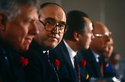 Labour MP John Smith sits with shadow cabinet colleagues at a Labour event in April 1992 in London, UK. John Smith QC PC b1938 was a Scottish Labour Party politician who served as Leader of the Labour Party from July 1992 until his death from a heart attack in May 1994.