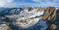 Panoramic aerial view of Mont Blanc, Italy, France