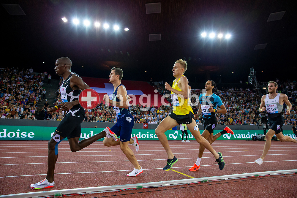 Timothy Cheruiyot (L) of Kenya on his way winning the 1500m Men during the Iaaf Diamond League meeting (Weltklasse Zuerich) at the Letzigrund Stadium in Zurich, Switzerland, Thursday, Sept. 9, 2021. (Photo by Patrick B. Kraemer / MAGICPBK)