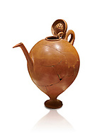 Terra cotta Hittite beaker shaped side spouted pitcher with lid - 1700 BC to 1500BC - Kültepe Kanesh - Museum of Anatolian Civilisations, Ankara, Turkey. Against a white background .<br /> <br /> If you prefer to buy from our ALAMY STOCK LIBRARY page at https://www.alamy.com/portfolio/paul-williams-funkystock/hittite-art-antiquities.html  - Type Kultepe into the LOWER SEARCH WITHIN GALLERY box. Refine search by adding background colour, place, museum etc<br /> <br /> Visit our HITTITE PHOTO COLLECTIONS for more photos to download or buy as wall art prints https://funkystock.photoshelter.com/gallery-collection/The-Hittites-Art-Artefacts-Antiquities-Historic-Sites-Pictures-Images-of/C0000NUBSMhSc3Oo