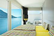 Interior, beautiful modern apartment, bedroom