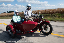 Gene Harper and Jan Carl (navigating from the sidecar) rode their 1924 Indian Chief in the Motorcycle Cannonball coast to coast vintage run. Stage 7 (274 miles) from Cedar Rapids to Spirit Lake, IA. Friday September 14, 2018. Photography ©2018 Michael Lichter.