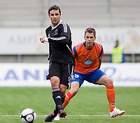 Fotball, <br /> 30.06.2011 , <br /> europa league , <br /> 1 quaql 1 leg,<br /> Aalesund - neath fc 4-1 ,<br /> Color line stadion ,  <br /> <br /> Luuke bowen - neath fc<br /> Daniel arnefjord - aalesund<br /> Foto: Richard brevik , Digitalsport