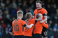 Football - Scottish Premier League - Dundee vs. Dundee United<br /> <br /> Ian MacNicol/Colorsport<br /> <br /> Dundee United's third goal scorer Willo Flood is congratulated by Keith Watson during the Dundee vs.Dundee United Scottish premier League Match at Dens Park, Dundee.<br /> <br /> 9th December 2012<br /> <br /> <br /> <br /> Re