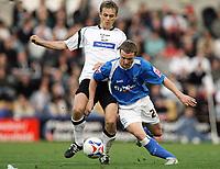 Photo: Rich Eaton.<br /> <br /> Derby County v Birmingham City. Coca Cola Championship. 21/10/2006. Morten Bisgaard left of Derby County tackles Birminghams Gary McSheffrey