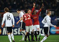FOOTBALL - UEFA CHAMPIONS LEAGUE 2010/2011 - GROUP STAGE - GROUP E - AS ROMA v BAYERN MUNCHEN - 23/11/2010 - PHOTO FABIO BOZZANI / PENTASPORTS / DPPI - JOY FRANCESCO TOTTI (ROMA) AFTER HIS GOAL WITH MARCO BORRIELLO / FABIO SIMPLICIO