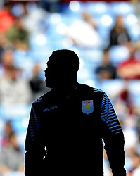 A  Silhouette of Aston Villa's Darren Bent  - Photo mandatory by-line: Joe Meredith/JMP - Mobile: 07966 386802 23/08/2014 - SPORT - FOOTBALL - Birmingham - Villa Park - Aston Villa v Newcastle United - Barclays Premier League