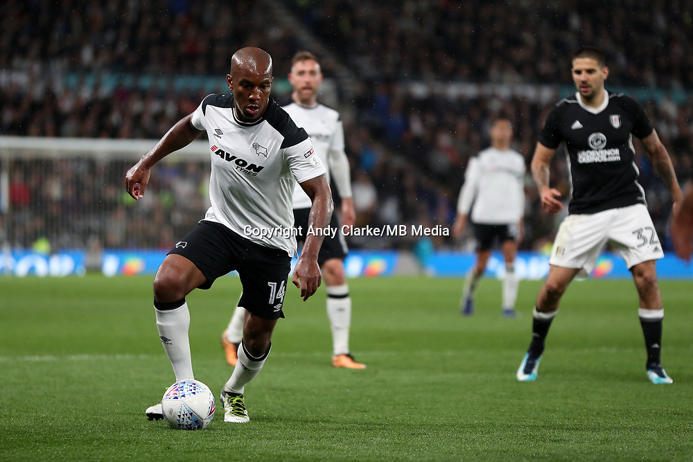 DERBY, ENGLAND - MAY 11: - DCFC vs Fulham. Andre Wisdom, goes on the attack against Fulham