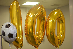 YSTRAD MYNACH, WALES - Wednesday, April 5, 2017: Balloons in the Wales dressing room to mark Jessica Fishlock's 100th appearance for Wales ahead of the Women's International Friendly match against Northern Ireland at Ystrad Mynach. (Pic by Laura Malkin/Propaganda)