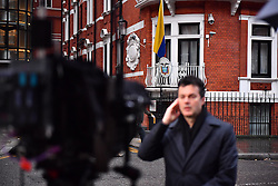 © Licensed to London News Pictures. 14/11/2016. London, UK. Media gather before Swedish officials arrive at the Ecuadorian Embassy in London where they are expected to interview WikiLeaks editor-in-chief, Julian Assange. Assange, who has been living at the embassy for over four years, is wanted for questioning over accusations of rape in Stockholm in 2010.  Photo credit: Ben Cawthra/LNP