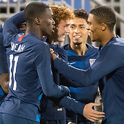 EAST HARTFORD, CONNECTICUT- October 16th: Josh Sargent #13 of the United States is congratulated by team mates after scoring during the United States Vs Peru International Friendly soccer match at Pratt & Whitney Stadium, Rentschler Field on October 16th 2018 in East Hartford, Connecticut. (Photo by Tim Clayton/Corbis via Getty Images)