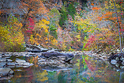 Boulders and fall color along Falling Water Creek in the Arkansas Ozark National Forest area.