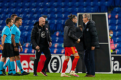 CARDIFF, WALES - Wednesday, November 18, 2020: Finland's head coach Markku Kanerva with Wales' captain Gareth Bale during the UEFA Nations League Group Stage League B Group 4 match between Wales and Finland at the Cardiff City Stadium. Wales won 3-1 and finished top of Group 4, winning promotion to League A. (Pic by David Rawcliffe/Propaganda)