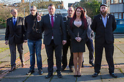 Britain First leaders Paul Golding and deputy leader Jayda Fransen and entourage arriving at Folkestone Magistrate Court on 30th January 2018 in Folkestone, United Kingdom. Both are accused of causing religiously-aggravated harassment.