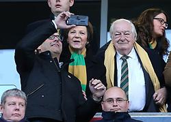 Norwich City's joint majority shareholder Delia Smith, alongside her husband, Michael Wynn Jones, pose for a selfie before kick-off