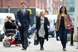 © Licensed to London News Pictures. 27/05/2016. Doncaster UK. Caroline Flint arriving with Ed Miliband & Rosie Winterton in Doncaster as Labour leader Jeremy Corbyn & former Labour leader Ed Miliband speak at a EU referendum campaign rally today in Docaster. Photo credit: Andrew McCaren/LNP